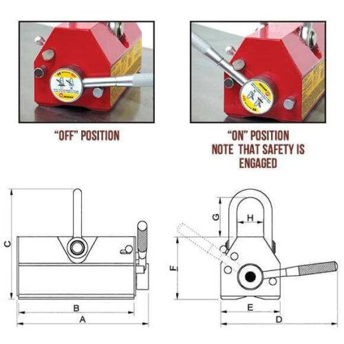 Lifting Magnets - EZ LIFT Lifting Magnets Technical Drawing